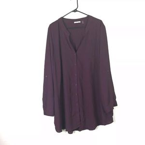 Dex 3X Shirt Pull Over Roll Tab 3/4 Sleeve Blouse